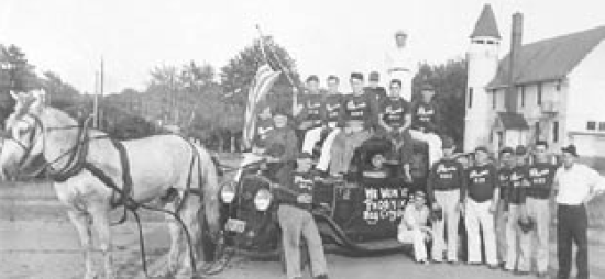 "ictory! Phoenix Brewery baseball team: note horse-drawn car as their ""Victory Wagon."""