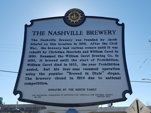 The Nashville Brewery Historical Marker Located at Sixth Avenue South and Mulberry