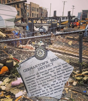 Germantown Brewery Distric Historical Marker (post tornado)